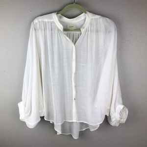 Anthropologie Maeve Brynna White Dolman Blouse M